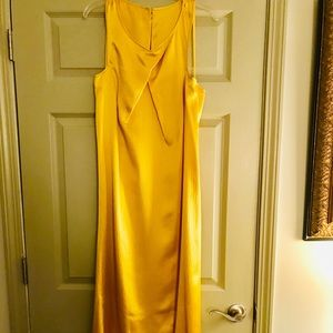 Gold Silk Floor length Formal Dress